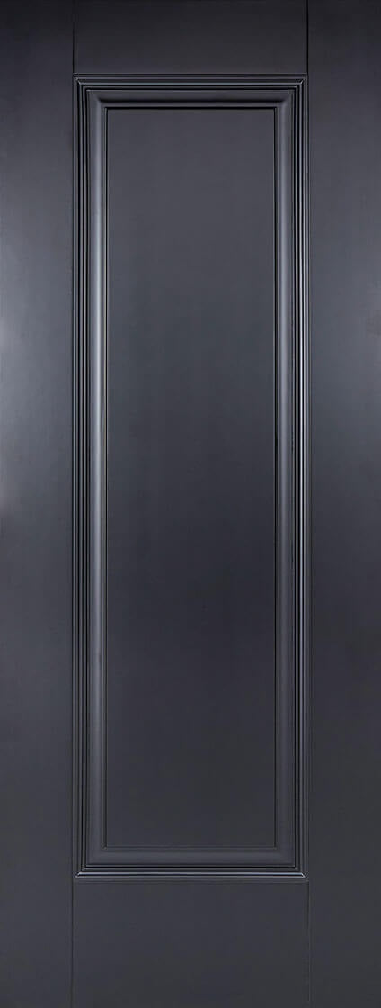 Eindhoven black primed 1 panel door.