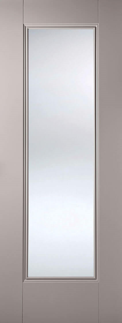 Eindhoven grey primed internal door with clear glass.