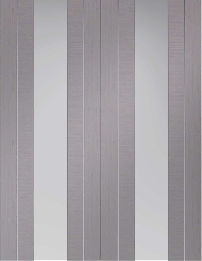 Forli light grey internal pair with aluminium inlays and clear glass