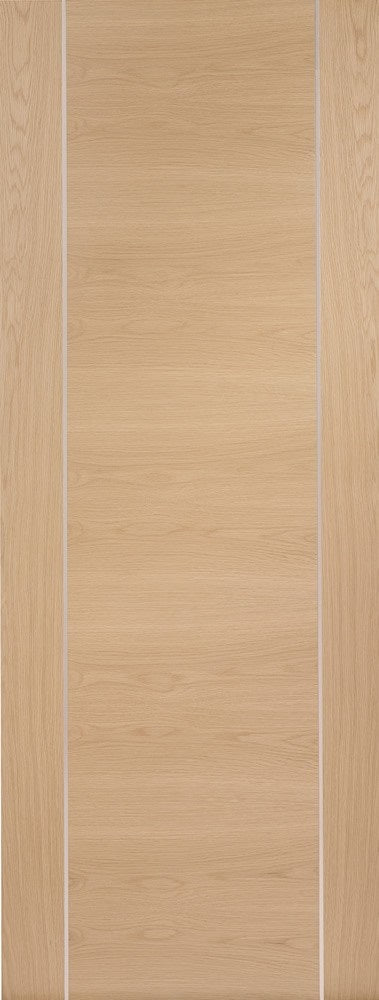 Forli Prefinished oak fire door with aluminium inlays.