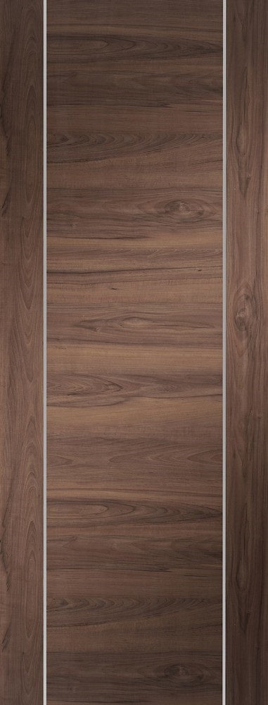 Forli prefinished walnut with aluminium inlays.