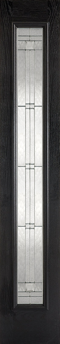 Black GRP sidelight Leaded glass