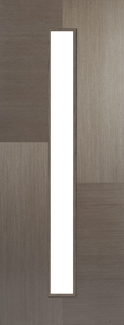 Hermes chocolate grey prefinished internal door, clear glass.