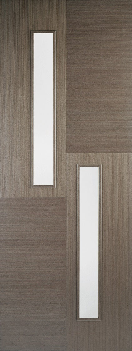 Hermes 2 light Chocolate grey internal door, with clear glass.