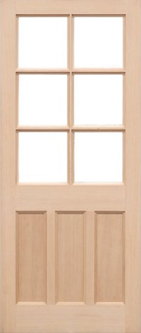 Portomaso Oak External Door Dowel Frosted Double Glazed