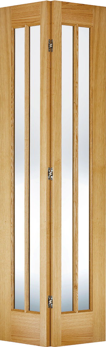 Marston Clear Glass room divider, 4 Leaf Oak Prefinished