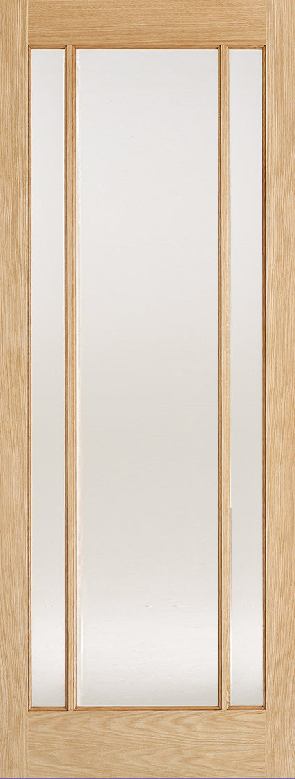 Lincoln 3 light oak door with frosted glass.