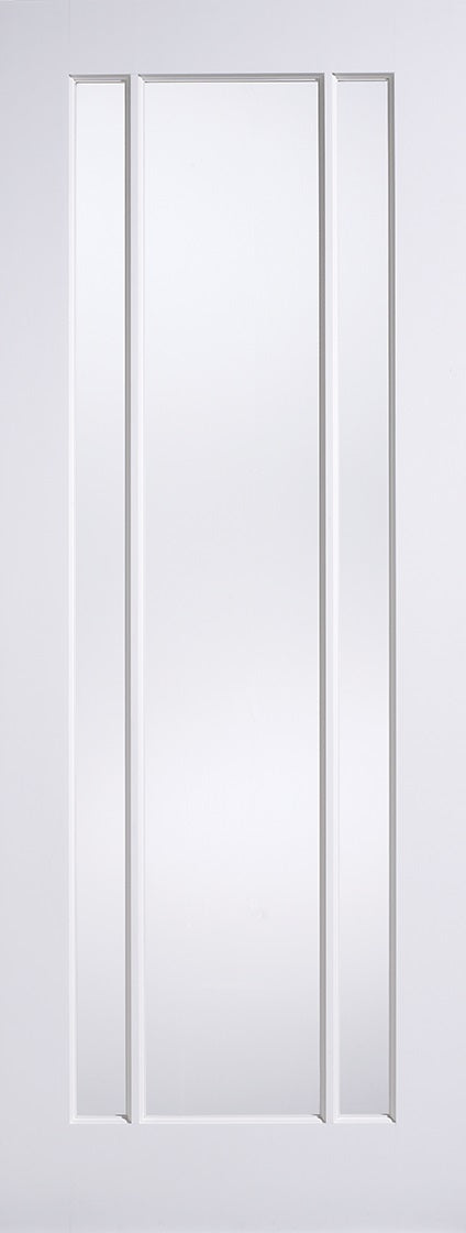 2 Panel 1 Light Textured White Moulded internal door, Clear Glass