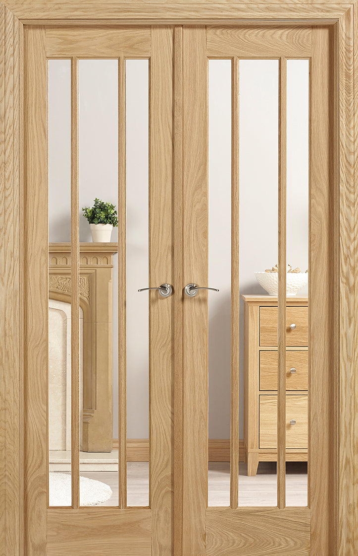 Lincoln Oak room divider clear glass