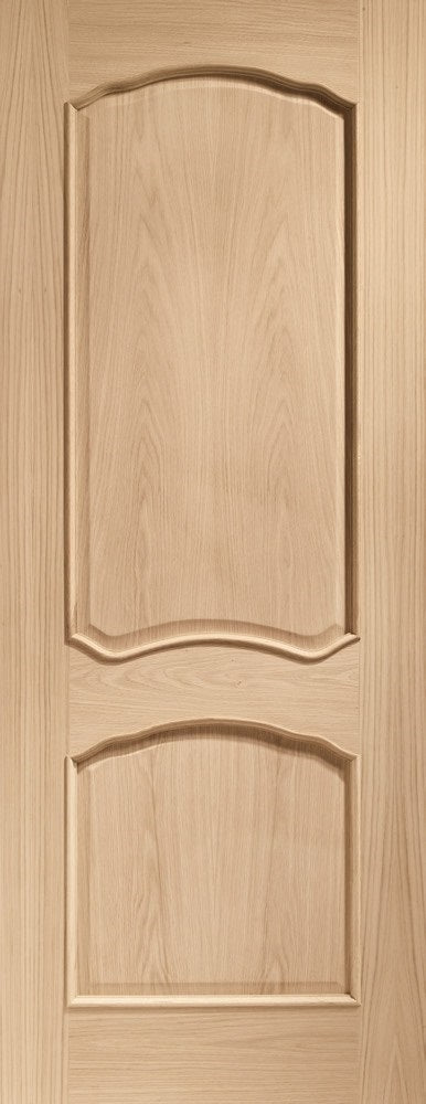 Louis fire door with raised mouldings, unfinished.