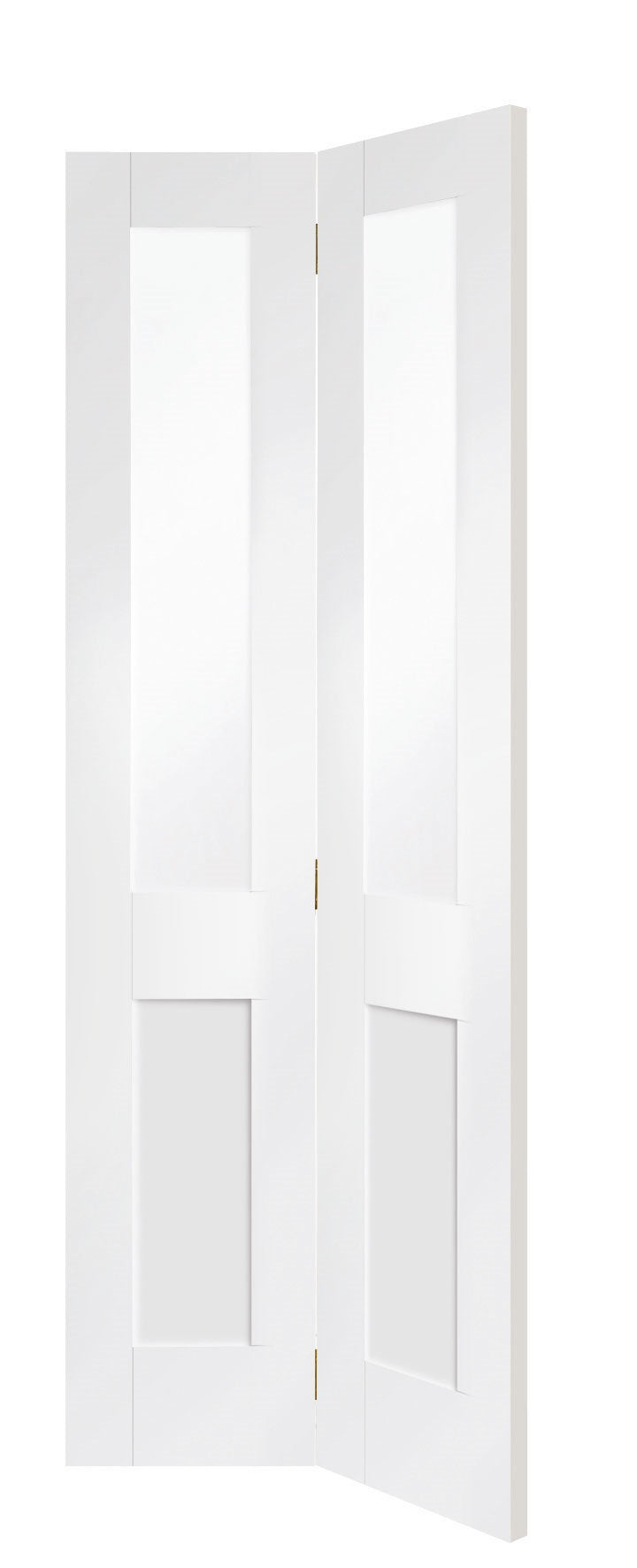 Pattern 10 White Primed Bifold Clear Glass Solid