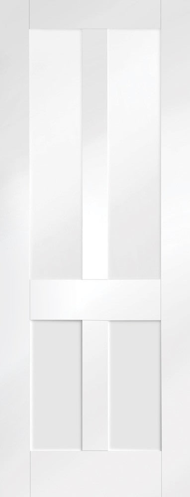 DX 1930 White Primed Shaker Internal Door With Obscure Glass