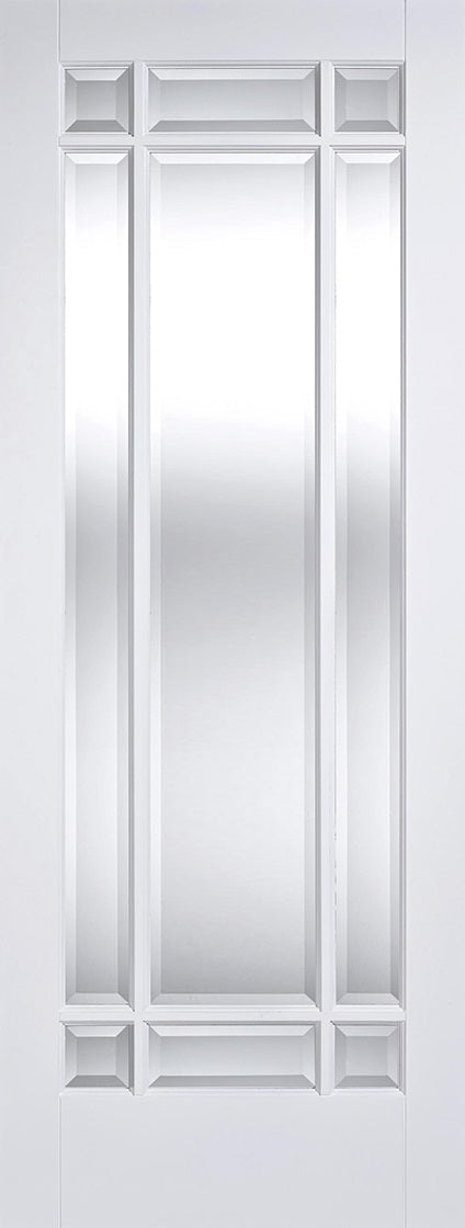 Manhattan primed white Internal Door with bevelled glass.