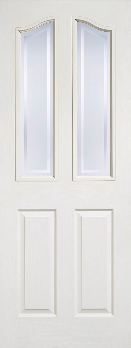 Mayfair white moulded Internal door with frosted glass and clear border.