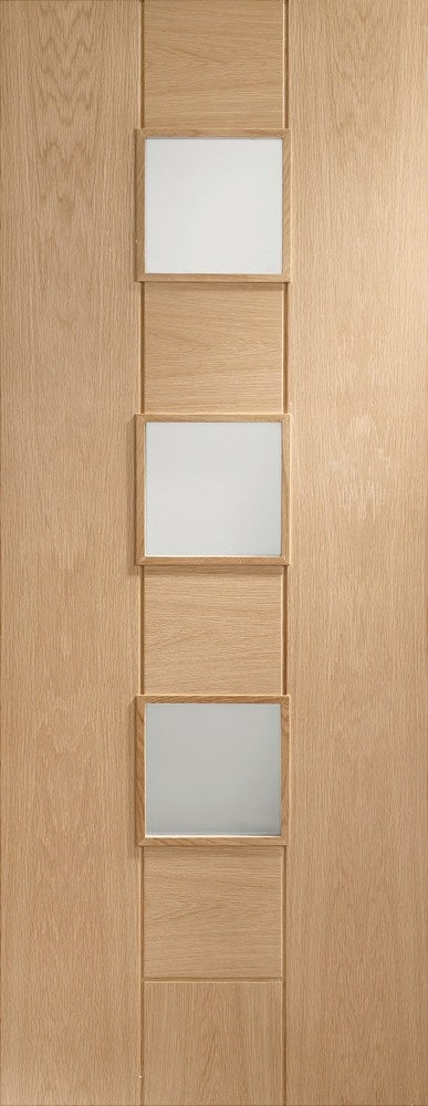 Messina internal oak door, with frosted glass,unfinished.