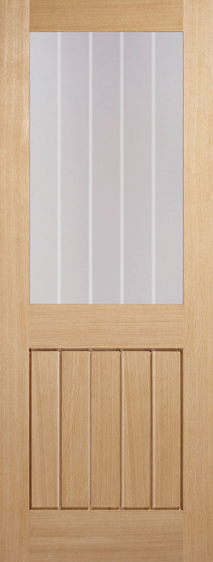 Mexicano internal oak door, clear glass with frosted lines.