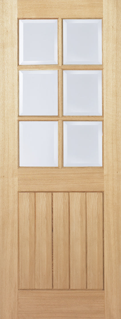 Mexicano oak 6 light, bevelled glass, prefinished.