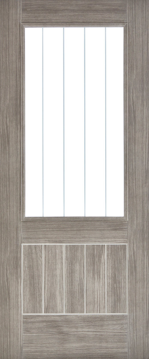 Mexicano light grey laminate internal door with clear glass and frosted lines