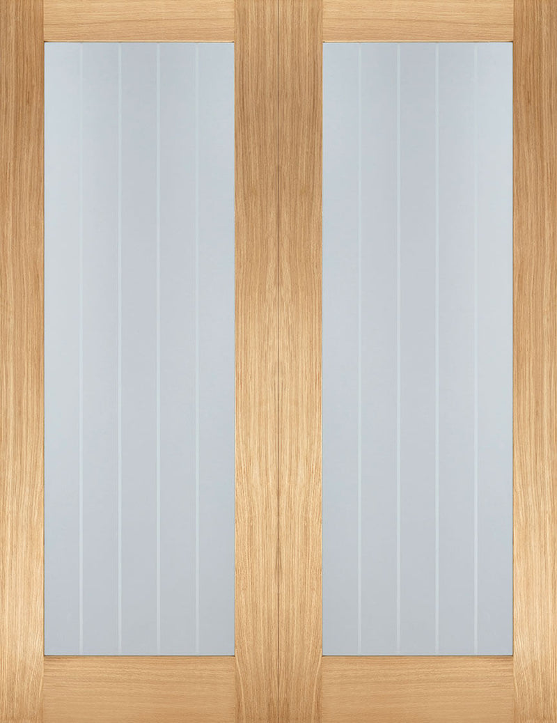 Mexicano oak pattern 10 pair, clear glass with frosted lines.