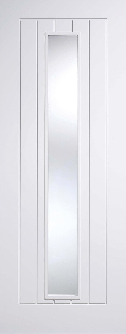 Mexicano primed white Internal door, with clear glass.