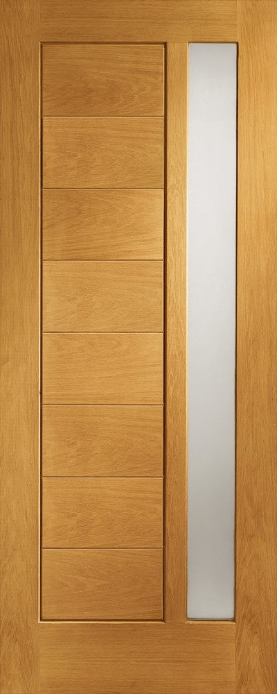 Modena Obscure Double glazed external Oak door MT Prefinished
