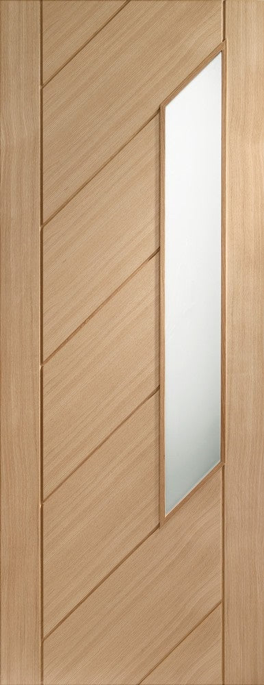 Monza internal oak door, with frosted glass, unfinished.