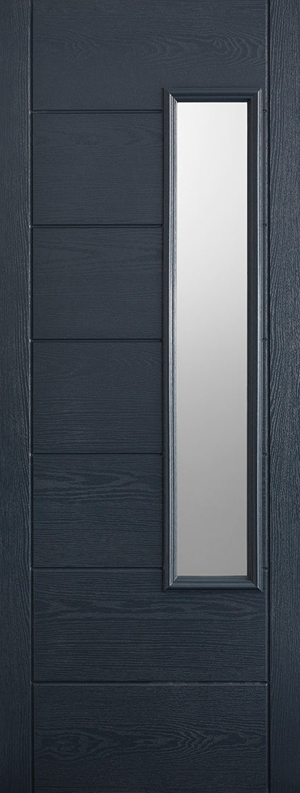 Newbury Grey external GRP door, Frosted glass