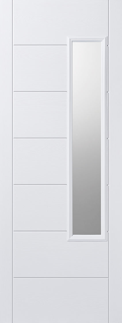 Newbury white external GRP door, Frosted glass