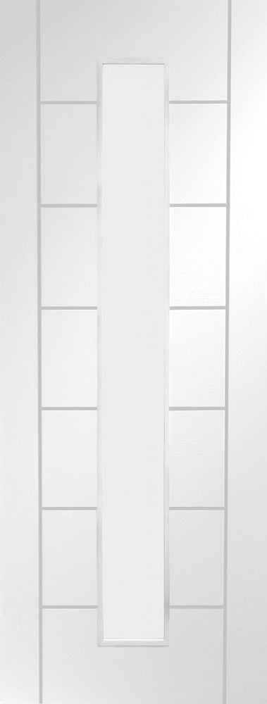 1 Light White Primed Textured Clear Glass With Frosted Lines