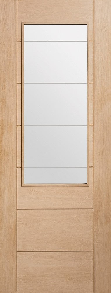 Palermo 2XG oak internal door with etched glass.