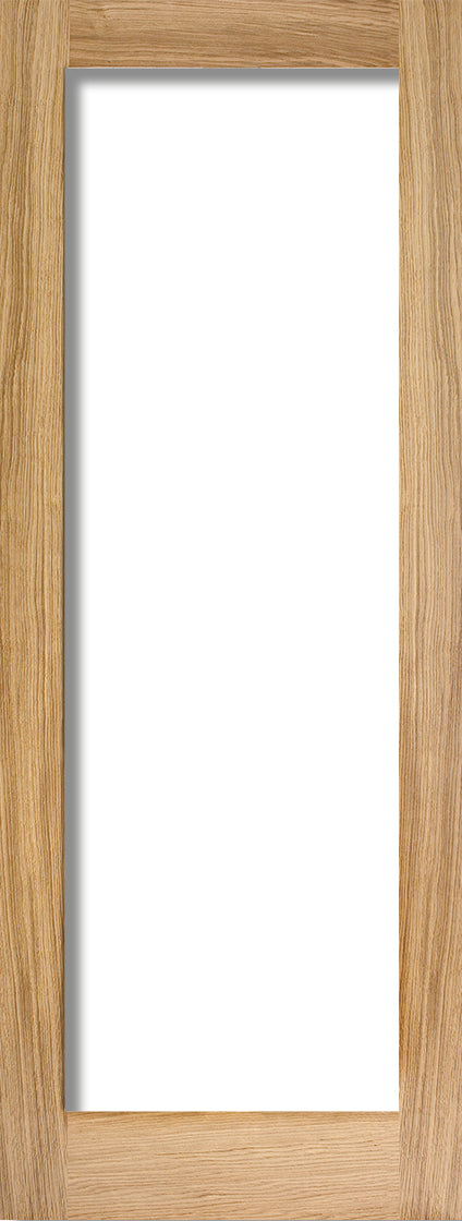 Pattern 10 internal oak door, with clear glass