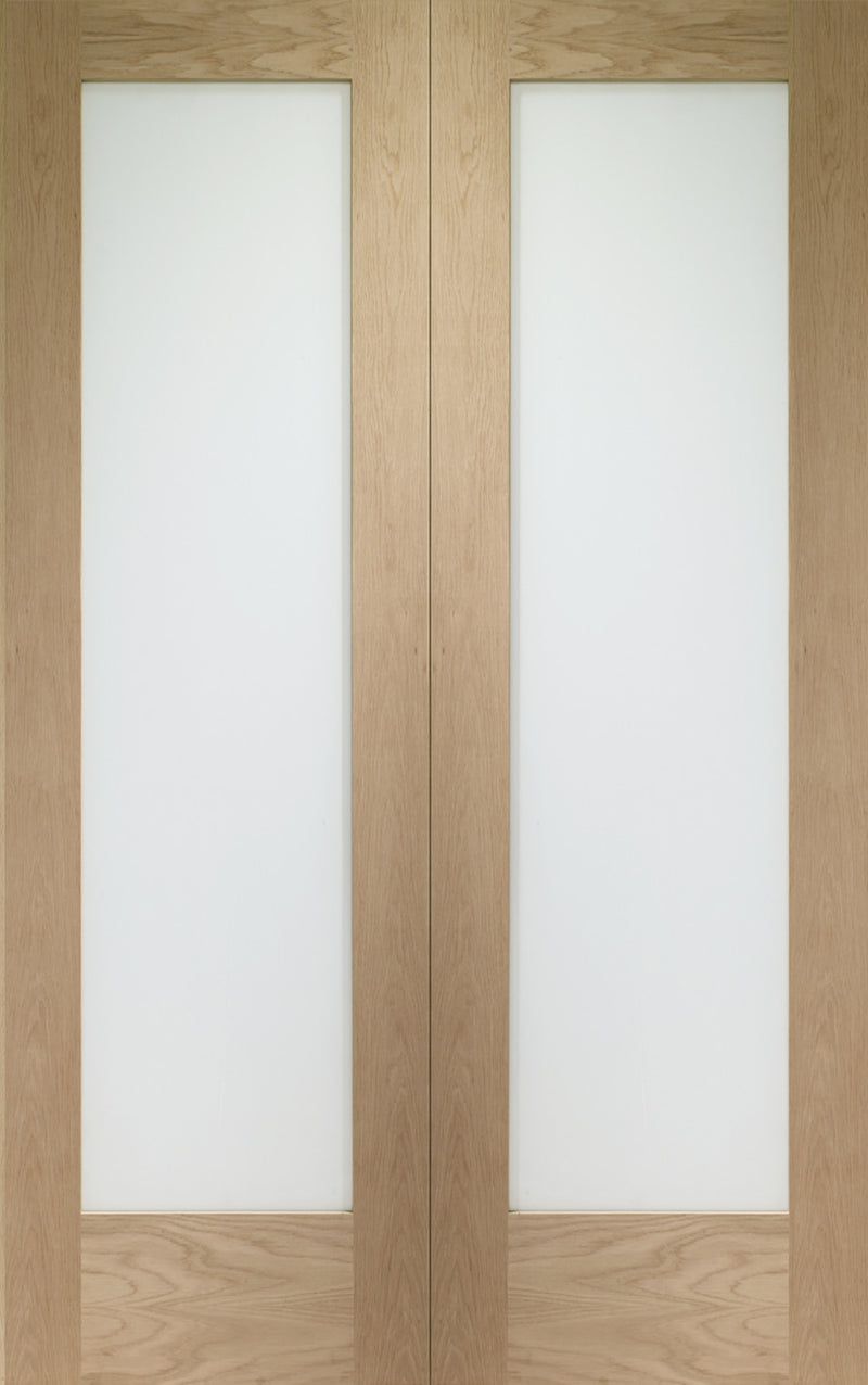 Pattern 10 internal oak pair, with frosted glass