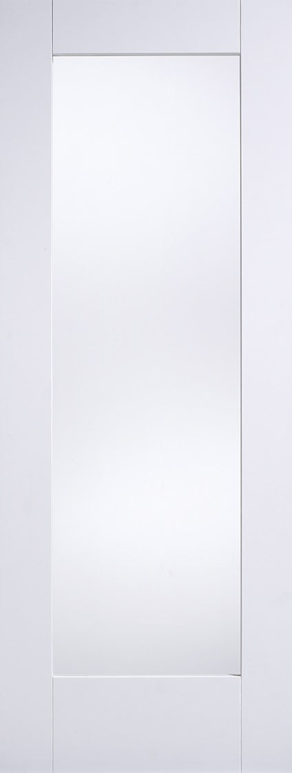 Pattern 10 white primed internal door-clear glass