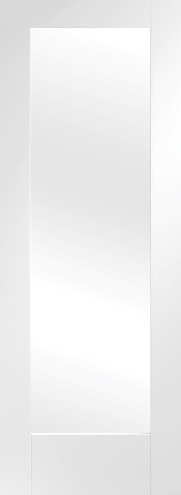 White primed  Pattern 10 internal door with obscure glass