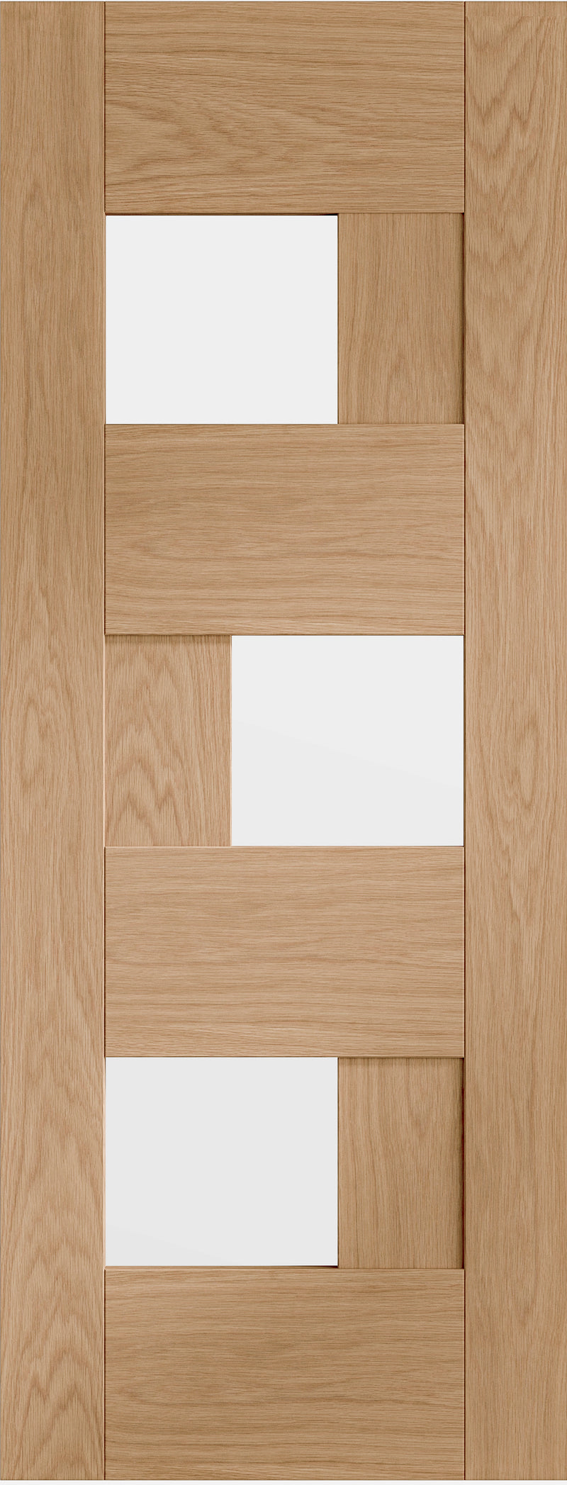 Perugia prefinished oak door with clear glass