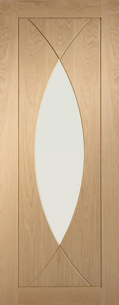 Pesaro oak fire door, clear glass.