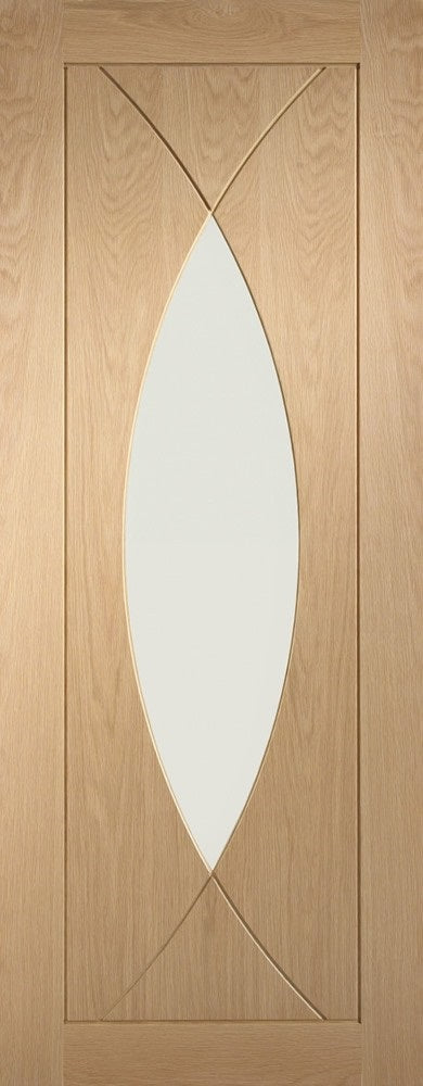 Pesaro oak door with clear glass. Unfinished.