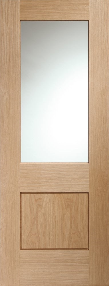 Piancenza internal oak door, with clear glass. Unfinished.