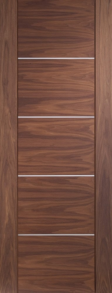 Portici walnut fire door with aluminium inlays.