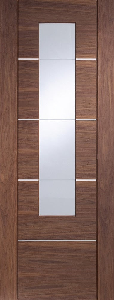 Portici walnut, with clear etched glass,and aluminium inlays.