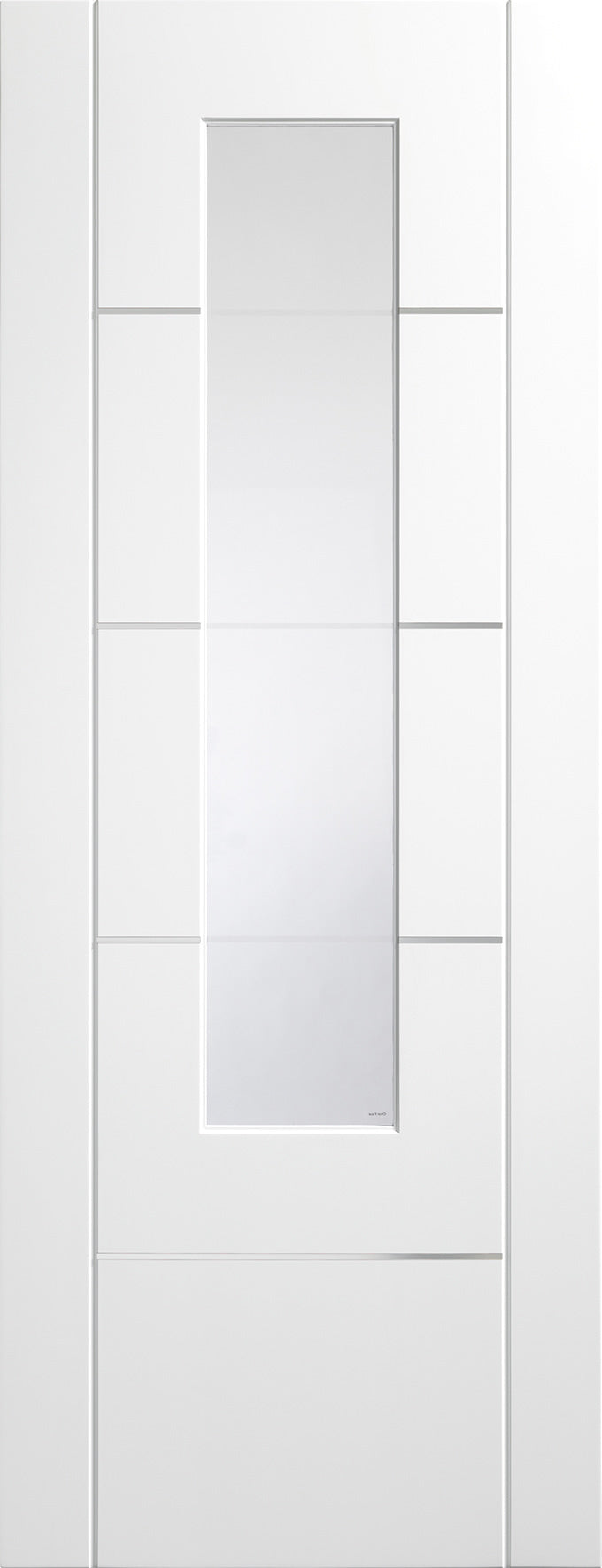 Portici prefinished white Internal door with clear etched glass.
