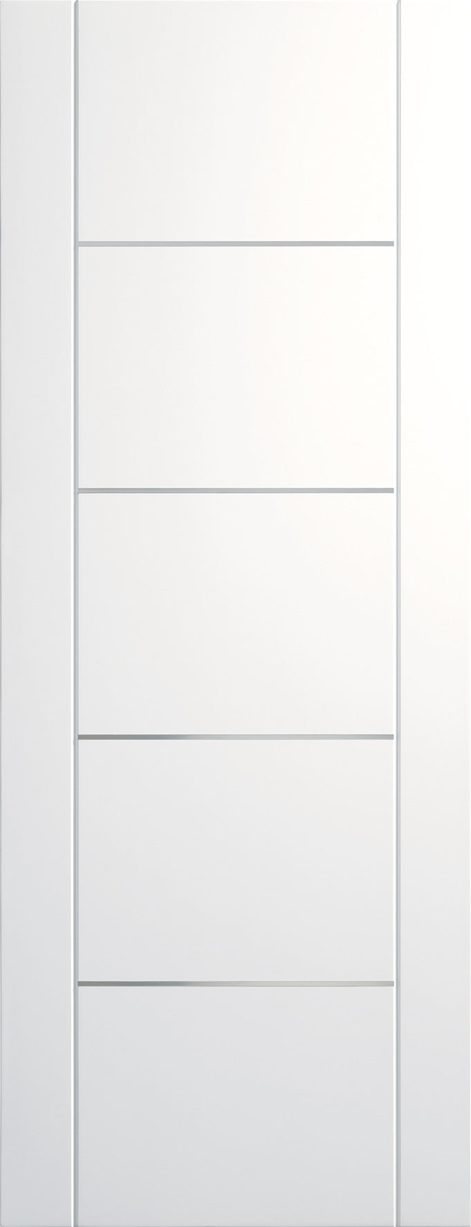 Portici white prefinished internal door with aluminium inlays.