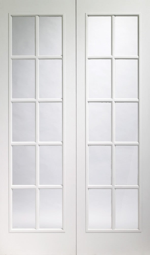 Portobello white primed Internal  pair with clear glass.