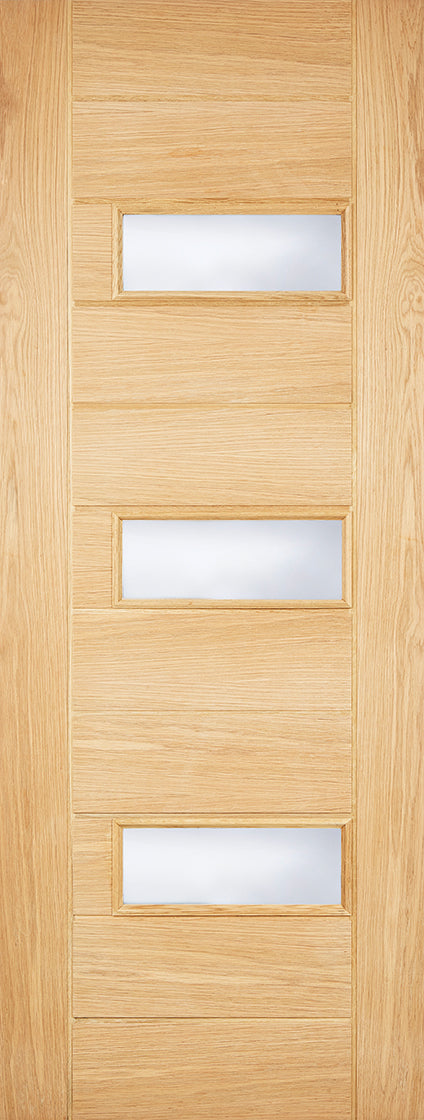 Portomaso oak External door with frosted glass.