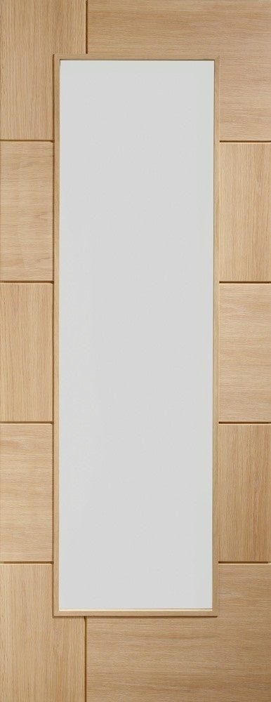 Ravenna oak Internal door, prefinished. With clear glass.