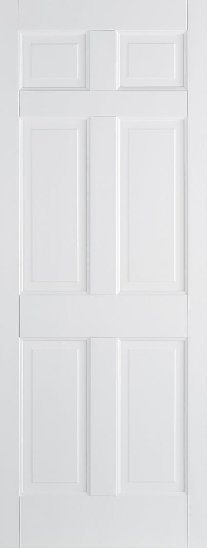 Regency 6 panel primed white internal door.