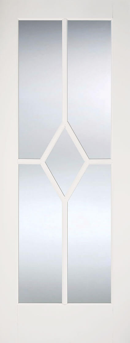 Reims white primed with clear bevelled glass.