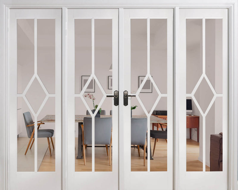 White Reims Room Divider-Clear Glass