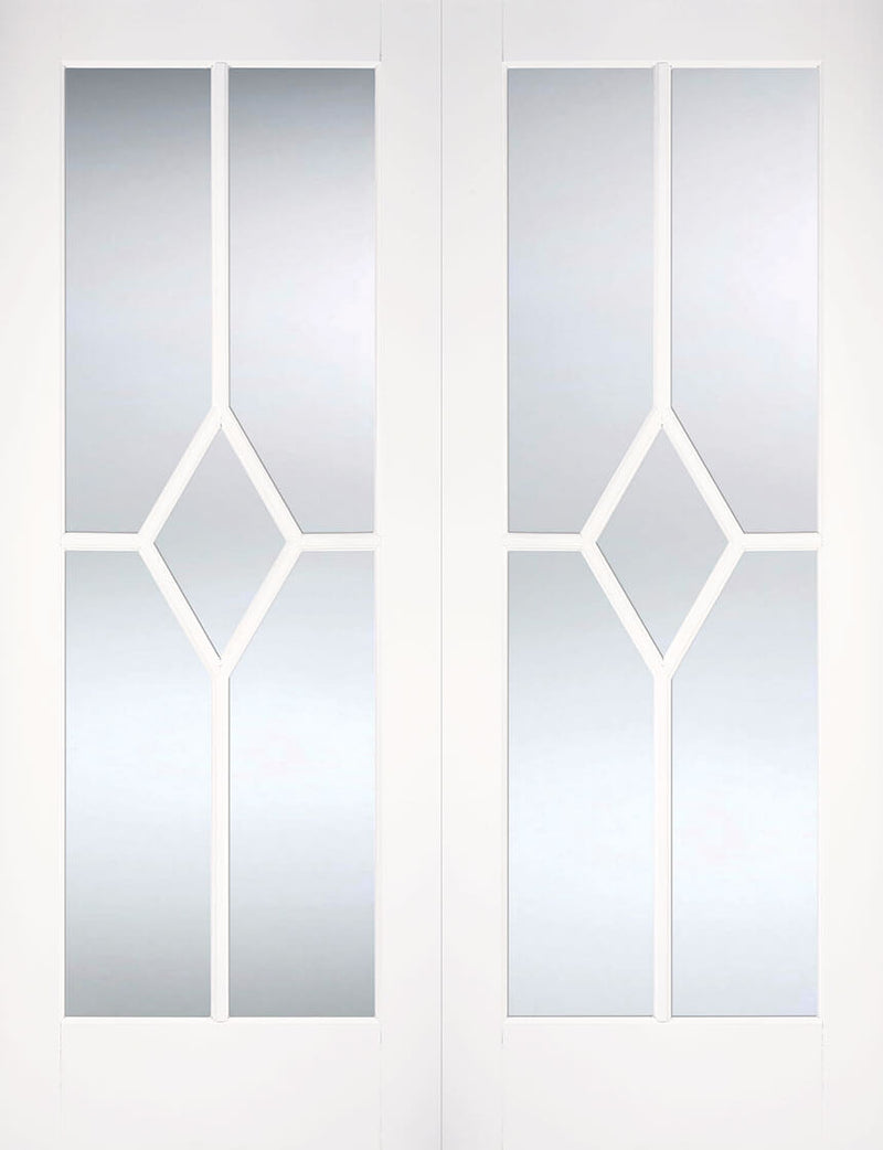 Reims White Primed Rebated Pair Bevelled Glass