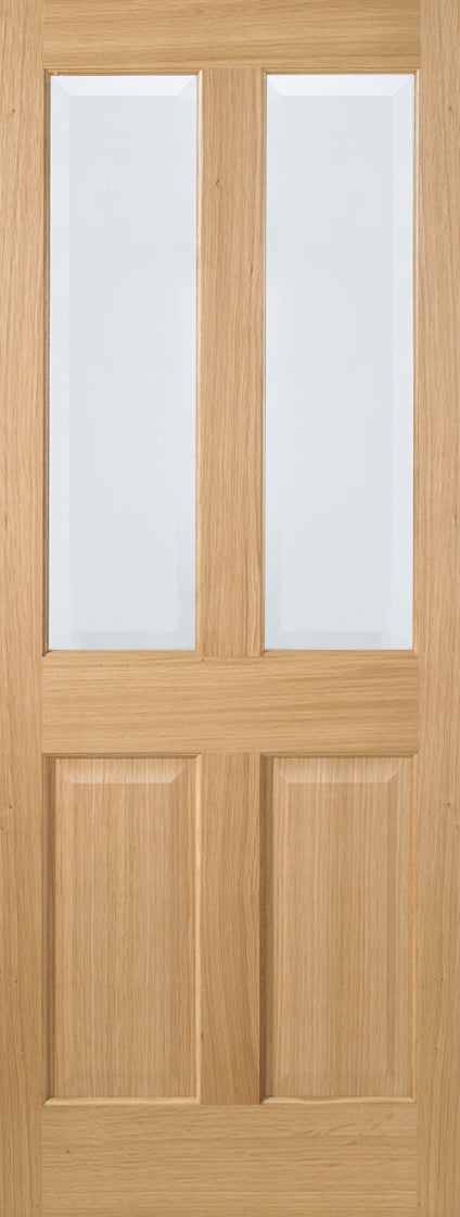 Richmond 4 Panel Oak Prefinished Clear Bevelled Glass